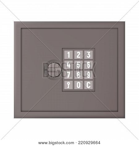 Safety deposit box for money security vector illustration. Code lock.