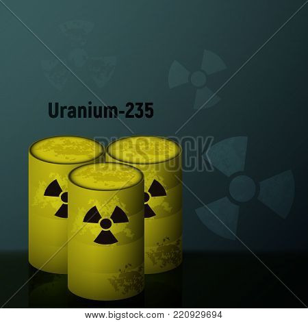 Radioactive uranium in the yellow barrels. Pollution by toxic emissions. Vector illustration. poster