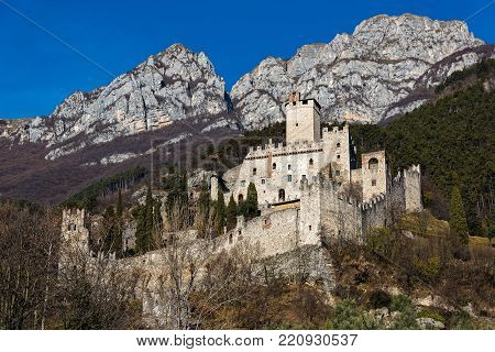 View of the Avio castle in Trentino, Italy