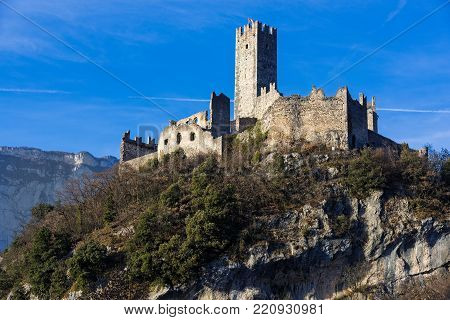 View of the Drena castle in Trentino, Italy