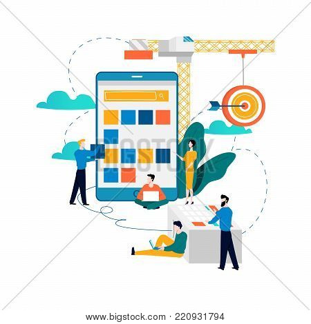 Mobile application development process flat vector illustration. Software API prototyping and testing background. Smartphone interface building process, mobile app building concept