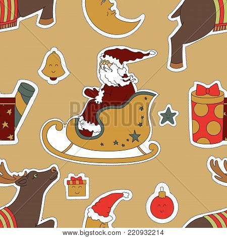 Holiday for Christmas. Deer, moon, Santa Claus vector illustration. Seamless pattern New Year background.