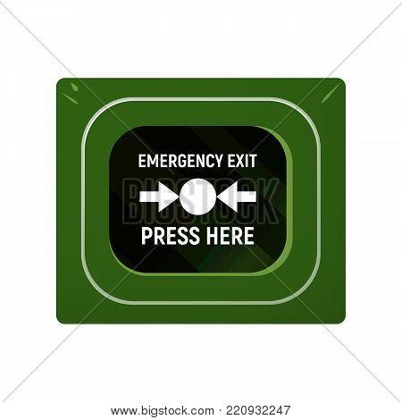 Unit emergency exit. The direction of escape. Vector illustration.