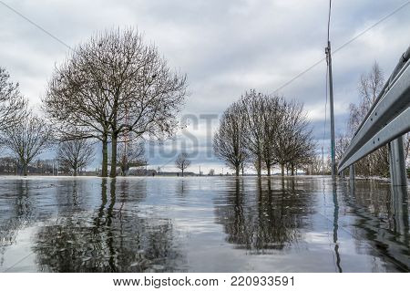 The river Rhine is flooding the city of Duisburg, Germany