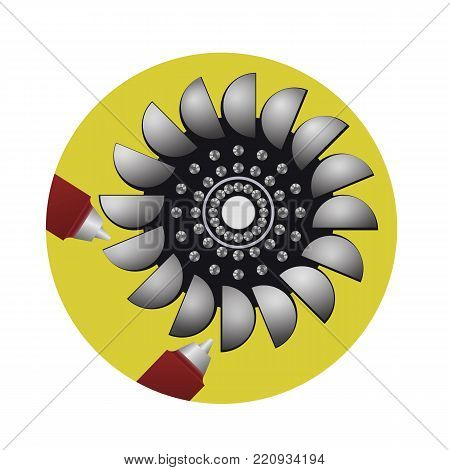 Hydraulic water turbine. Alternative sources of energy. The electric power industry. Vector illustration.