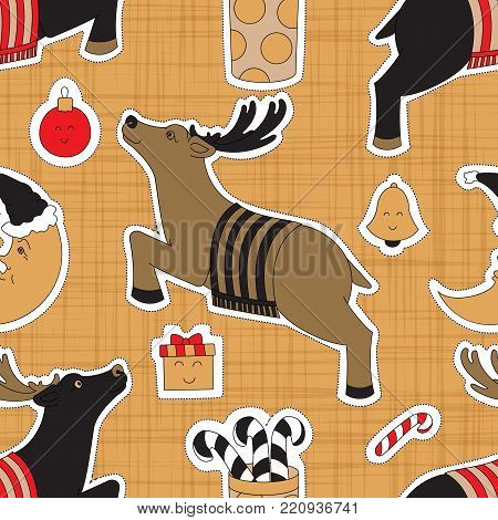 Greeting for Christmas. Presents, candy, moon and deer vector illustration. Seamless pattern background.