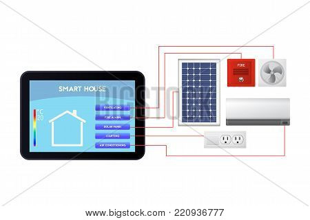 Smart house administration. The control device vector illustration. Ventilation, fire alarm, solar panel, lighting, air conditioning.