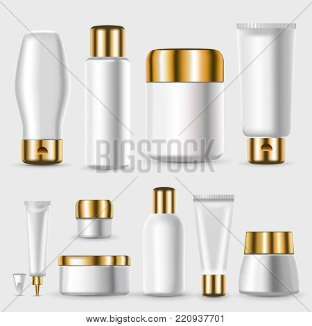 Realistic blank plastic packages collection with golden lids for cosmetic and skin treatment products isolated vector illustration