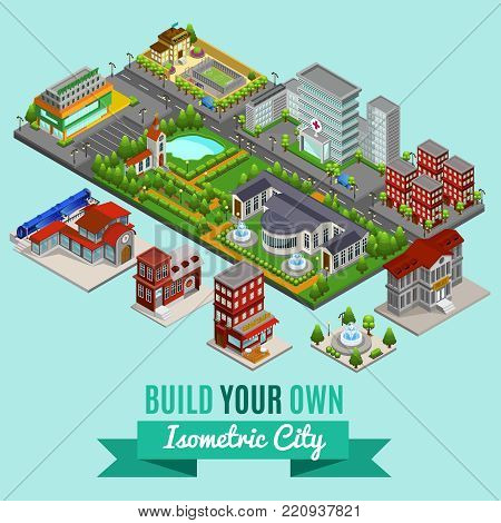 Isometric city creation concept with hospital supermarket school government cafe church fire police train stations park fountains lake vector illustration