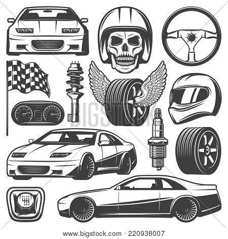 Vintage car racing icons set with automobiles steering wheel tires speedometer skull helmet gearbox flag shock absorber spark plug isolated vector illustration