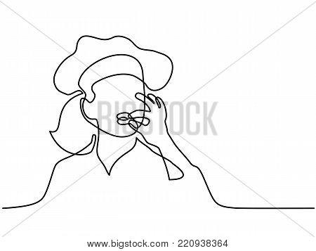 Continuous line drawing. Chef or cook wpman making tasty delicious gesture by kissing fingers isolated on white. Vector illustration