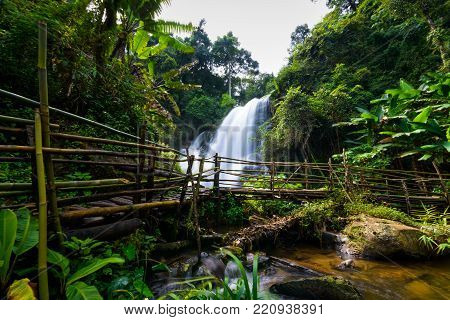 Beautiful Waterfall In Northern Thailand, Name Pha Dok Siew Waterfall In Doi Intanon National Park W