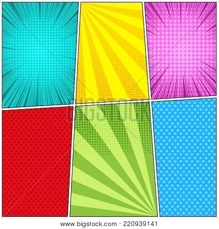 Comic book light background of six templates with rays, radial, dotted and halftone effects in turquoise yellow pink red green blue colors. Vector illustration