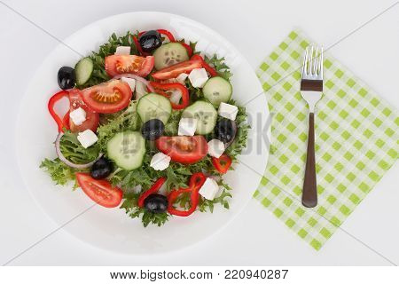 Traditional Greek Sallad With Black Olive On White Plate On White Background.