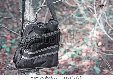 In woods on fallen leaves is a case for binoculars and binoculars.