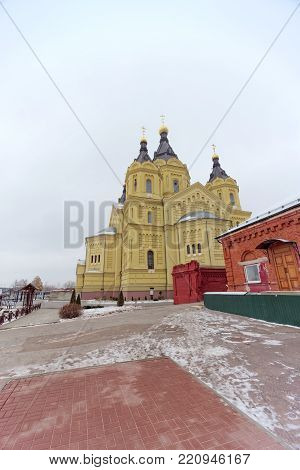 Nizhny Novgorod, Russia. - December 1.2017. The Cathedral of Alexander Nevsky. View from the back of the cathedral. The photo is taken on a wide-angle lens.