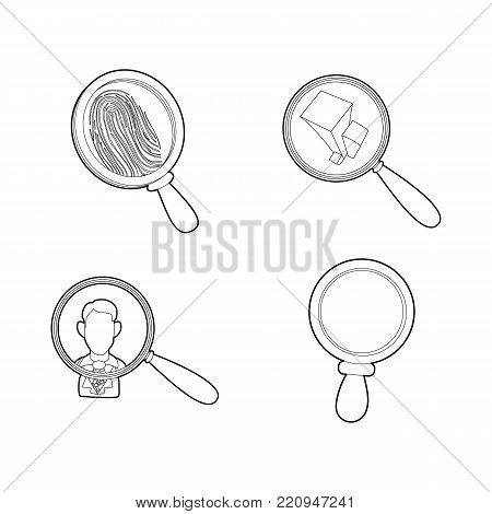 Magnifier glass icon set. Outline set of magnifier glass vector icons for web design isolated on white background