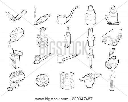 Smoking icon set. Outline set of smoking vector icons for web design isolated on white background