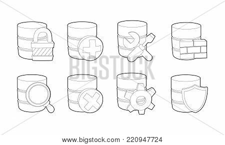 Server icon set. Outline set of server vector icons for web design isolated on white background