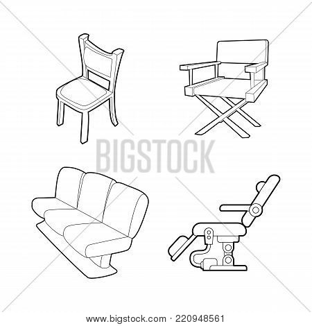 Chair icon set. Outline set of chair vector icons for web design isolated on white background