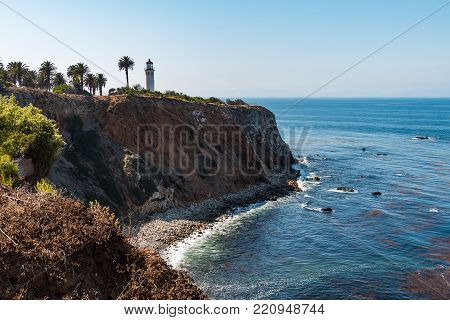 Rancho Palos Verdes, California - September 9, 2017:  The Point Vicente Lighthouse Sits High Atop A