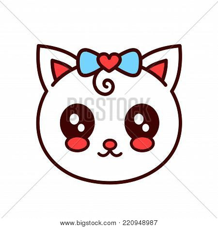 Cute smiling funny cat,kitten face.Vector cartoon character illustration.Design for child card,t-shirt,Girl,kid.children cat, kitty concept.Isolated on white background.