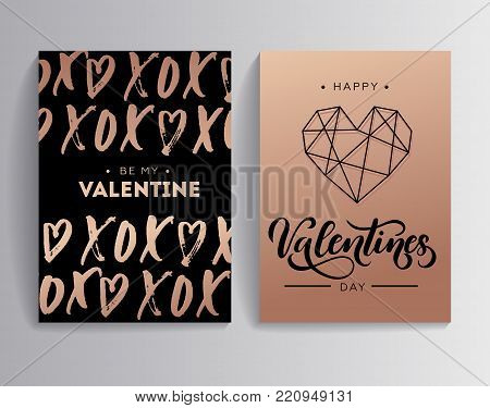 Happy Valentine's day rose gold greeting card set with lettering. Card XOXO (hugs and kisses) with hearts. Linear modern design for card or invitation. Be my Valentine. Vector illustration