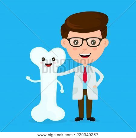 Cute funny smiling doctor and healthy happy bone.Healthcare,medical,friends,doctor concept. Vector flat cartoon character icon design. Isolated on white background