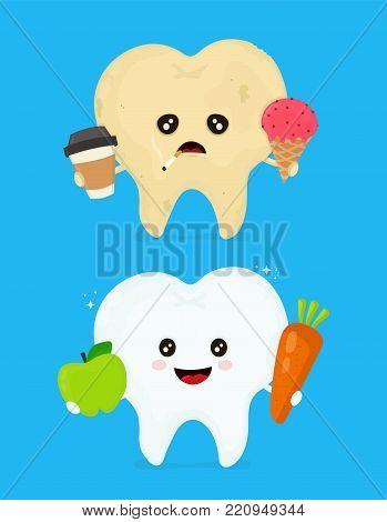 Sick dirty unhealthy tooth with coffee,ice cream,smoke cigarette and healthy tooth. Hygiene medical, caries concept,bad teeth,nutrition concept. Vector flat illustration icon cartoon character design.