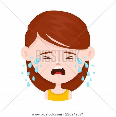Women young girl crying. Vector flat cartoon character icon design. Isolated on white background. Cry,tears concept