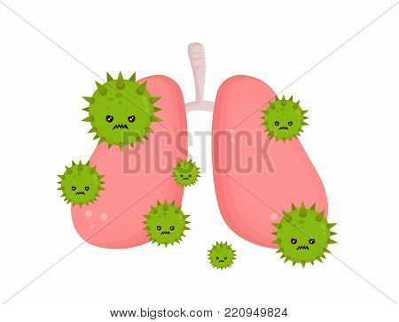 Sick unhealthy lungs with disease angry virus. Vector modern style cartoon character illustration icon design. Isolated on white background. Sick lungs with virus microbe concept