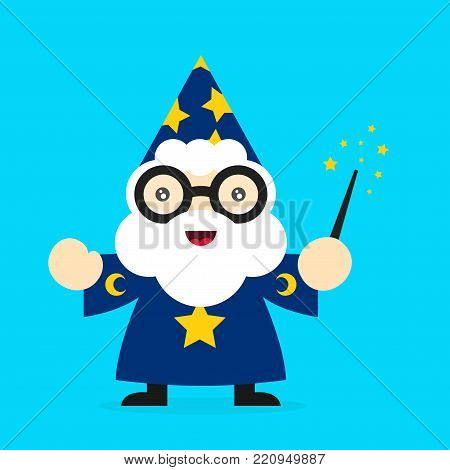 Cute funny smiling wizard. Vector modern flat style cartoon character illustration. Isolated on white background. Magic,wizard concept