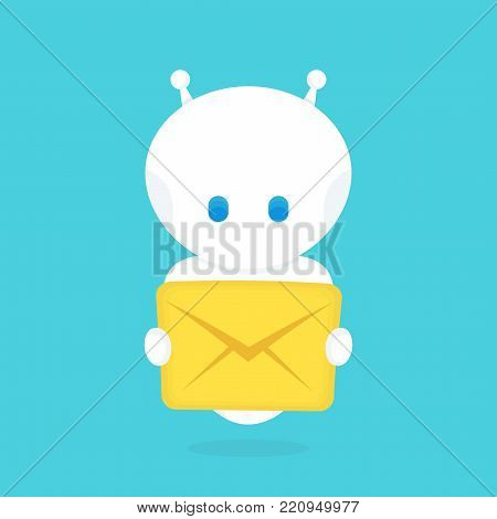 Cute happy smiling funny robot chat bot with with new letter,message.Vector flat cartoon character illustration icon design.Isolated on white background. Smart robot bot concept