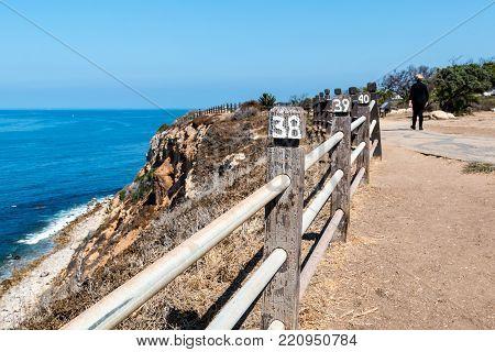 Rancho Palos Verdes, California - September 9, 2017:  People Walk On The Seascape Trail, Enjoying Vi