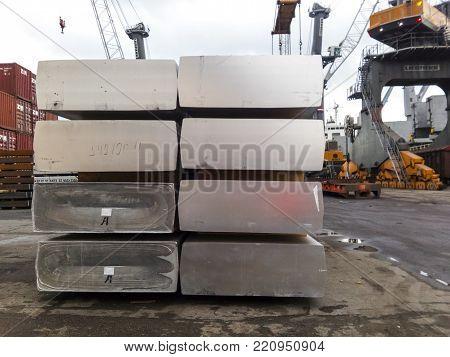 Novorossiysk, Russia - August 20, 2017: Aluminum ingots Transportation of aluminum for export