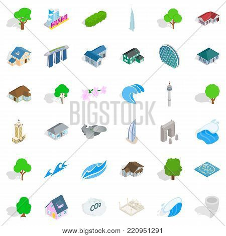 Town landscape icons set. Isometric style of 36 town landscape vector icons for web isolated on white background