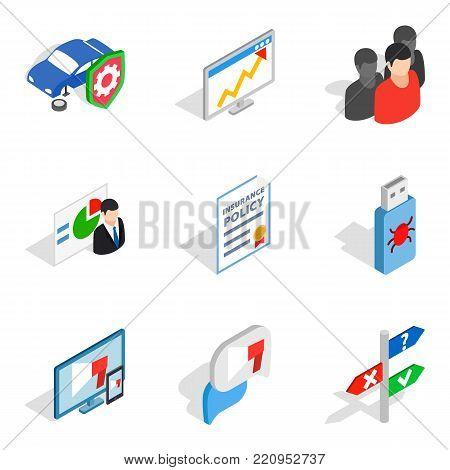 Biz development icons set. Isometric set of 9 biz development vector icons for web isolated on white background