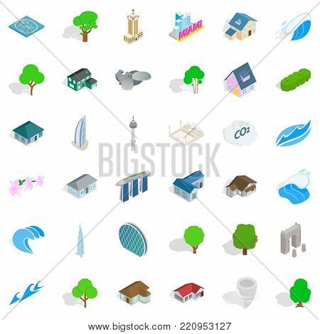 City landscape icons set. Isometric style of 36 city landscape vector icons for web isolated on white background
