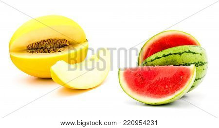 watermelon, honeydew. collection of cut slice and whol melons isolated on white background. Set for fruit salad, product or package design element