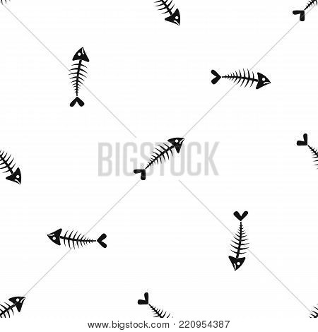 Fish bone pattern repeat seamless in black color for any design. Vector geometric illustration