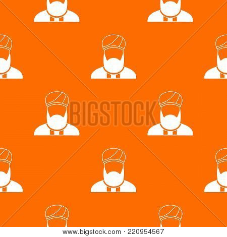 Muslim preacher pattern repeat seamless in orange color for any design. Vector geometric illustration