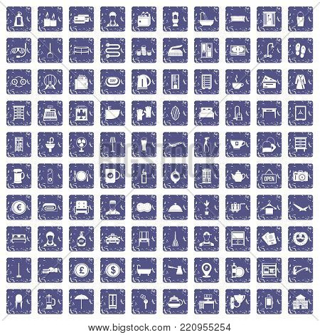 100 inn icons set in grunge style sapphire color isolated on white background vector illustration