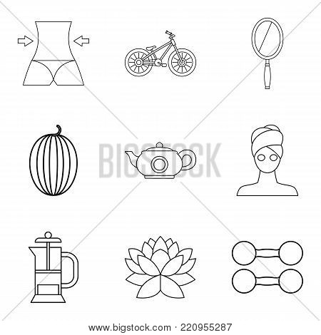 Lose weight icons set. Outline set of 9 lose weight vector icons for web isolated on white background