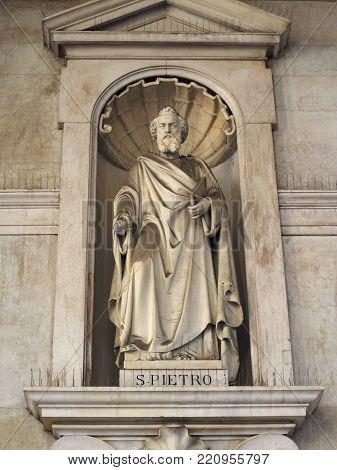 TURIN, ITALY - CIRCA JANUARY 2018: Saint Peter statue (San Pietro in Italian) outside Santissima Annunziata parish church