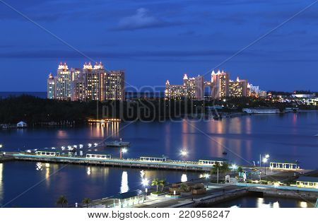 View of Atlantis at dusk from port of Nassau.