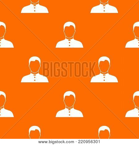 Pastor pattern repeat seamless in orange color for any design. Vector geometric illustration