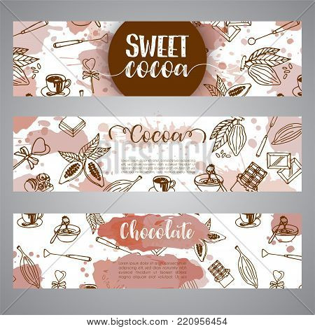 Chocolate cacao sketch banners. Design menu for restaurant, shop, confectionery, culinary, cafe, cafeteria, bar. Cocoa beans line icon or emblem. Vector illustration