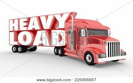 Heavy Load Truck Semi Hauler 18 Wheeler 3d Illustration