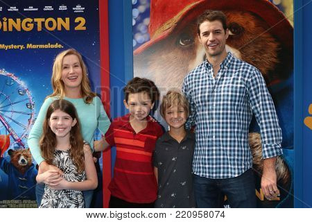 LOS ANGELES - JAN 6:  Angela Kinsey, her daughter, his sons, Josh Snyder at the