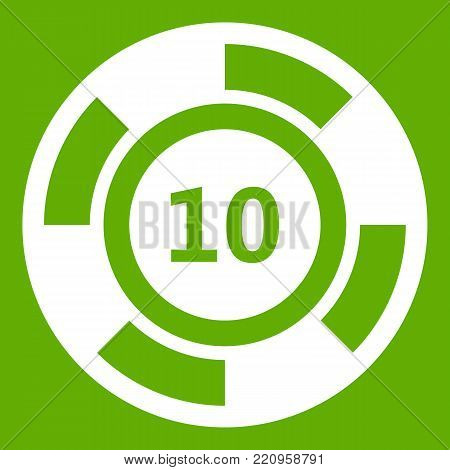 Casino chip icon white isolated on green background. Vector illustration
